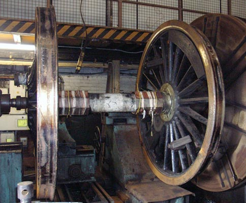 The rear driving wheels in the TLW wheel lathe. February 28 2004