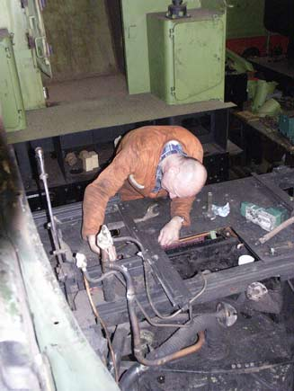 Steve Underhill works away on part of the cab floor. May 17 2003 © Martyn Bane