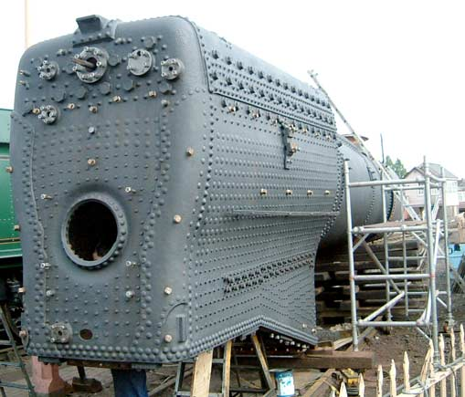 Coat number one is now complete. The boiler is now protected from the elements and will shortly receive a second coat of paint. May 11 2003 © Colin Henderson