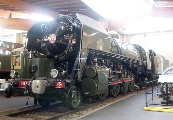 2-8-2 141R1187 was built by US firm Baldwin in 1947 to help rehabilitate the SNCF after World War II. After some work by Chapelon these already good locomotives were further improved. A maximum of 2928 drawbar horsepower was recorded from a modified loco, some 400 horsepower better than an 'as built' loco. They introduced to France the rugged American construction and good mechanical reliability that would have featured in Chapelon's post war locomotives if they had been built. May 31 2003
