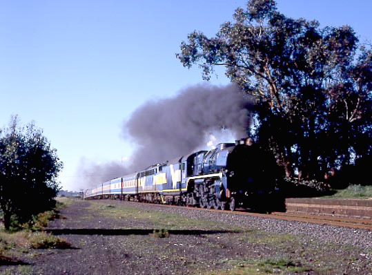 West Coast Railway R Class 4-6-4 R711 in action on the 08:48 Melbourne Spencer Street to Warrnambool service at Moriac. July 21 2001