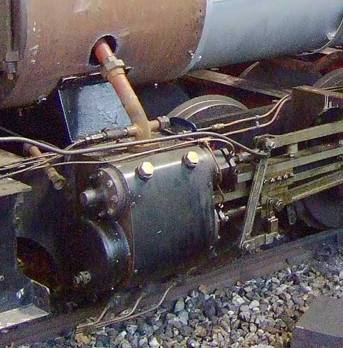 A close-up of one area at fault on the original locos. As can be seen the steam circuit is very considerably under sized. In addition the valves are both small and of short travel. Both of these weaknesses combined to cripple the performance of these machines. 28 June 2006