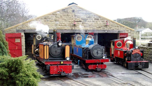 Three of the KLR's fleet on shed, and in steam, at Clayton West Depot. On the left is Avonside geared type V engine 0-4+4-0t Owl, then Kitson-Meyer 0-4+4-0t Hawk and finally 2-6-2t Fox. April 11 2004