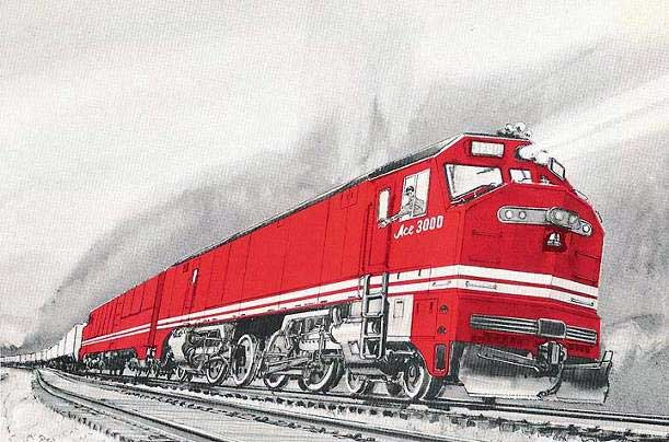ACE 3000 - the initial concept for a loco to at least match contemporary diesels. Courtesy of Shaun McMahon.