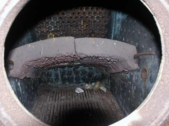 A general view in to the firebox through the firehole door. April 13 2003