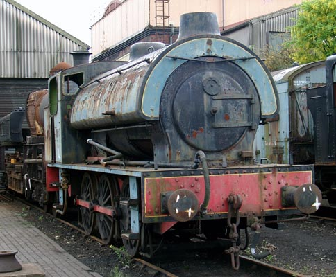 RSH No.7289 of 1945. Following industrial service No.7289 operated on the Keighley and Worth Valley Railway for many years. A couple of changes of owners later finds the loco at Tyseley Locomotive Works. 16 May 2004