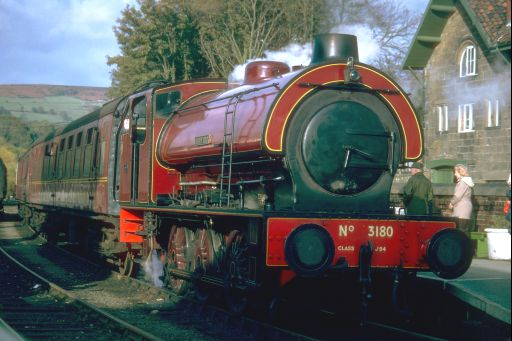 Hunslet No.3180 of 1944, 'Antwerp' at Grosmont station on the North Yorkshire Moors Railway in 1981