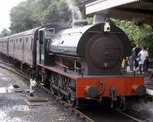 Hunslet No.2857 of 1943, 'Swiftsure'. This loco is seen at Bodmin General station on the Bodmin and Wenford Railway. Since the photograph was taken the locomotive has moved to the Strathspey Railway. The loco is recorded as having been modified in April 1965.