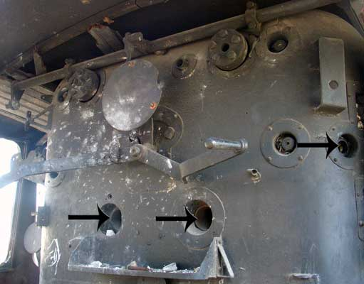 Three of the four over-fire air holes in the backhead are seen here. 14 October 2004