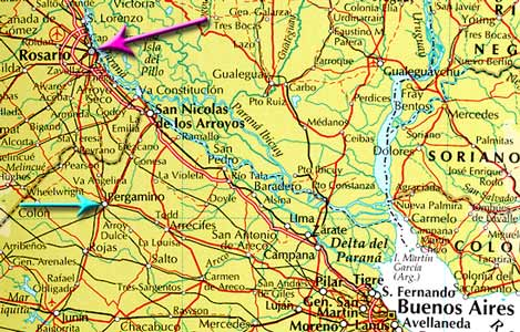 This map shows where Rosario is in relation to Buenos Aires and also the location of Pergamino refered to later.