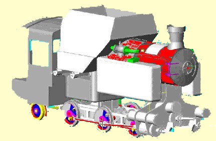 A Cuban  3D rendering of LVM800 part way through the design process. As would be expected it shows some differences to the outline general arrangement drawings produced in 1998. Clearly the above is incomplete but shows some features of the type - notably the very long travel valves and also more details of the arrangements for fuel delivery.