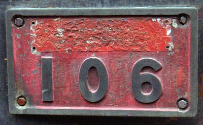 106's numberplate