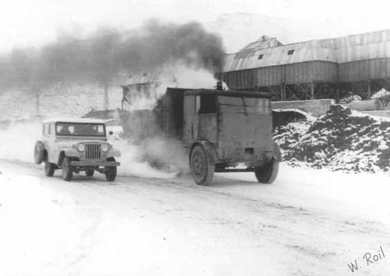 One of only two known photographs showing a Sentinel S6 steam waggon in action. These waggons were locally known as 'Chuffies'. This shot was taken at R�o Turbio. Date unknown. � W.Roil - R�o Gallegos (pioneer commercial photographer and historical archive).