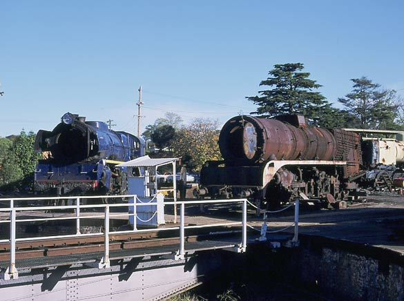 Ballaarat East retains a turntable from the days when it was a roundhouse. Here R766 on the left sits alongside Steamrail R700 which was at the depot for a rebuild. April 2002