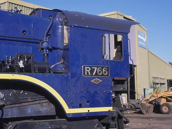 R766 has a brass numberplate as seen here at Ballaarat East depot. April 2002