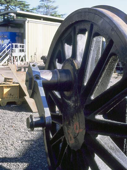 This is the driving wheel at Ballaarat East with a new crank pin installed. April 2002