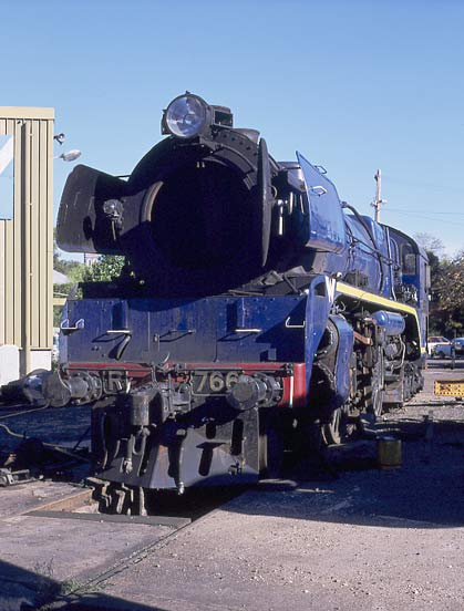 R766 at Ballaarat East. Note also the bufferbeam plates are brass. April 2002