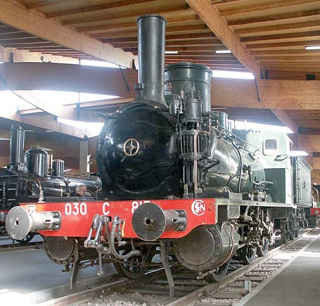In total contrast to the locomotive above in 030C815. This 0-6-0 tender engine was built in 1882 for the Ouest system. It was rated at 670 wheel-rim horsepower. October 9 2003