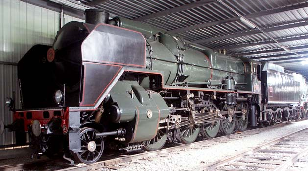 In October 2003 150P13 was stored in the reserve collection. The boilers of the 150Ps, and their direct predecessors the 150Bs, were shared with the Nord Super Pacifics - the 231Cs. October 9 2003