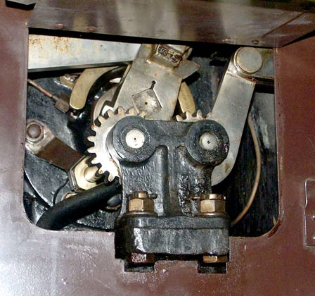 Each of the four cylinders have there own valvegear. The cut-off could be altered separately on the high pressure and low pressure sides of the engine. This view shows the final drive on to the inside, low pressure, cylinder oscillating cam. This on on the right hand side of the locomotive. October 9 2003