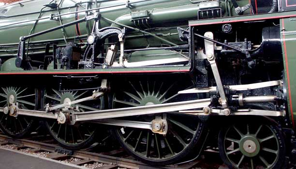 A close up view of the right hand side motion. Being copied from an early PLM type the 241Ps retained much of the layout. The high pressure cylinders are inside the frames whilst the outside low pressure cylinders have outside admission piston valves. October 9 2003