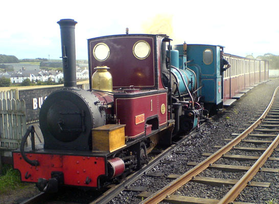 No.1026 of 1902. This 3' gauge 0-4-0t was built for the British Aluminium Company's operations at Larne Harbour. After withdrawal in the 1960s the locomotive eventually moved to the Shanes Castle Railway where it was to remain until the closure of the line in 1995. Whilst there it was named 'Tyrone'. From 2002 onwards No.1026 has worked on the Giant's Causeway Railway. In the photograph 'Tyrone' is shown piloting Andrew Barclay No.2265 of 1949 'Shane'. My thanks to Jonathan Black for the details. © Jonathan Black