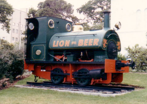 "No.1029 of 1904. This 3'6"" gauge loco is seen on display outside the Lion Brewery, Cape Town. © Geoff Pethick"