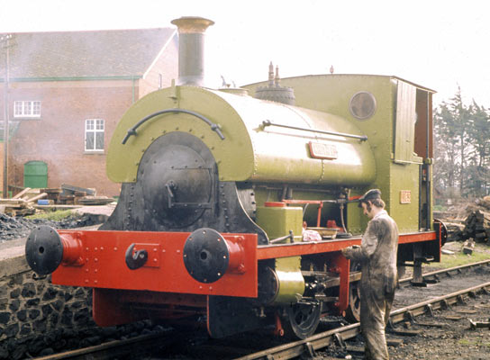 No.1163 of 1908. Named 'Whitehead' this 0-4-0st was initially preserved on the West Somerset Railway. It is seen here at Minehead where the goods shed and platform had been adapted for use as the running shed. Late 1970s. © Simon Bowditch