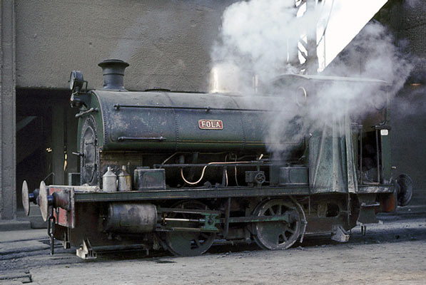 No.1287 of 1912. This SX12 0-4-0st was named 'Fola'. It is seen at the Tunnel Cement works near Purfleet in Essex. Note the 'homemade' lifeguards fitted to the loco. January 1964. © Geoff Plumb