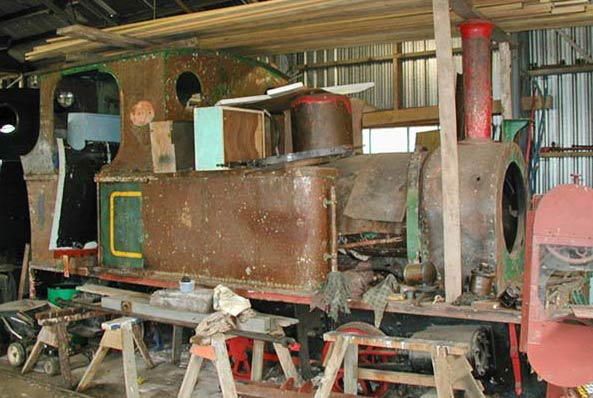 "No.1664 of June 1924. This 3'6"" gauge 0-4-2t has 7""x12"" cylinders. It was built for shunting at the Portland cement works, Whangarei, New Zealand. It is now preserved by the Whangarei Steam & Model Railway Club, where it is seen in store. Photo courtesy of Neil Wood"