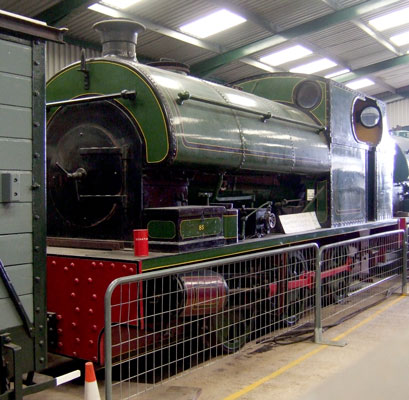 No.1870 of September 1934. Built for the metre gauge Finedon quarry system, numbered No.85, this 0-6-0st is now preserved at Irchester Narrow Gauge Railway Museum. 28 January 2007