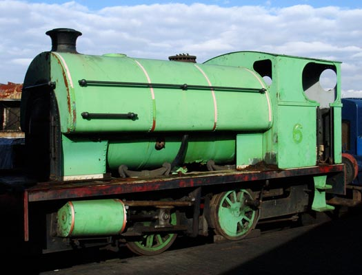 No.2004 of 1941. This 0-4-0st, in partially dismantled condition, is seen at Tyseley Locomotive Works. This loco has been painted as the Thomas the Tank Engine series loco No.6 Percy!