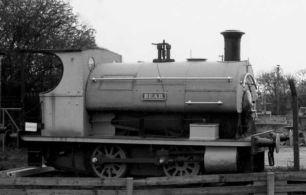 No.614 of 1896. Named 'Bear' this 0-4-0st is a static exhibit on the Sittingbourne and Kemsley Down Railway. It is the oldest surviving Peckett in the UK. 1997
