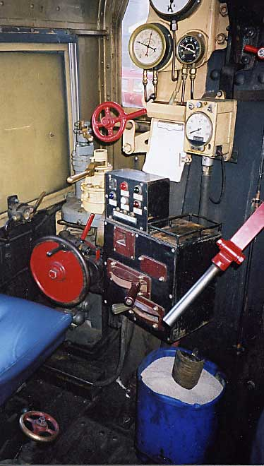 The diesel controller (centre of photograph) in the cab of steam loco R 711. 18.8.2001. MARTYN BANE