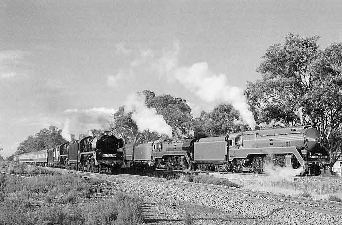 During a photo opportunity at Euroa R 761, R 711 and 3801, 3830 are on the parallel run from Wodonga to Melbourne. R 761 ran sleeping cars to Wodonga Thursday night; R 711 and S 313 took up a day train from Melbourne Friday morning. At Wodonga the two Rs were combined for the return journey and later that day 313 headed south with the empty sleeping cars. 21.4.2000. WARREN BANFIELD