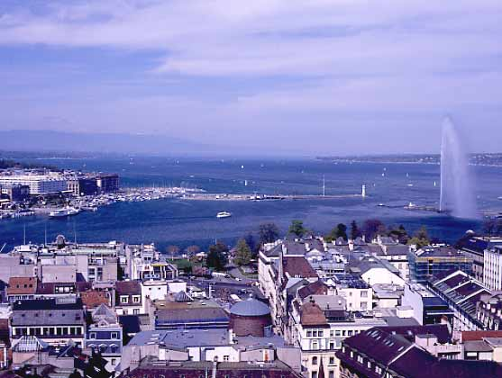 Looking out over Lac Leman from Geneva. April 2000