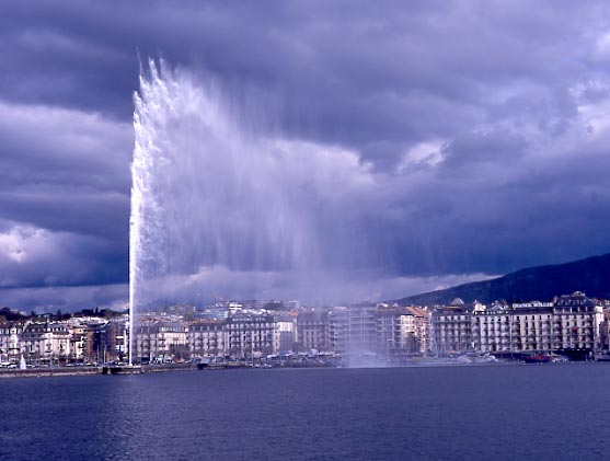 The spectacular fountain in Geneva. April 2000