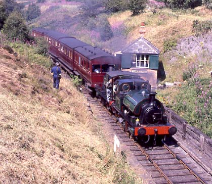 No.2 and Irwell double head a passenger service past Marley Hill signalbox. July 30 1994