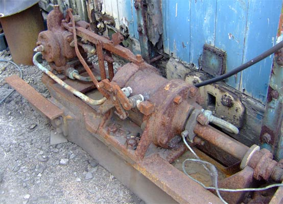 A closer view of the steam cylinfer side of the underfeed stoker also showing the piston rod as attached the the ram. 11 June 2006