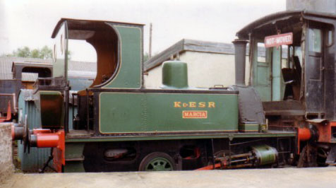 No. 1631 of 1923. This small 0-4-0t, named Marcia, is seen on the Kent & East Sussex Railway in 1980. © Geoff Pethick