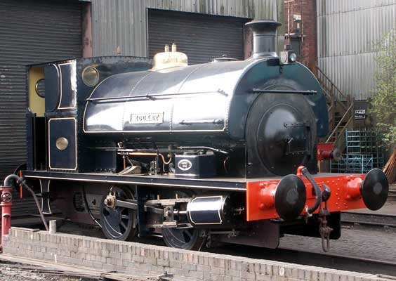 No. 1722 of 1926, named 'Rocket'. This 0-4-0, painted in an approximation of Somerset & Dorset Joint Railway Prussian blue stands outside at Tyseley Locomotive Works at the end of a heavy overhaul. April 13 2003