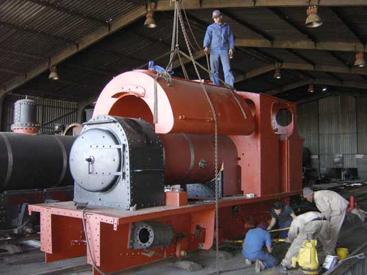 No. 2161 of 1957. This 2' gauge 0-4-0st was supplied new to the Sena Sugar Estates in Mozambique. It is seen here being reassembled at the Sandstone Heritage Trust works in South Africa. No. 2161 was the penultimate steam locomotive built by Pecketts. © Geoff Pethick